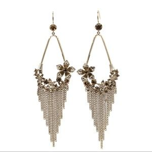 Pendant tassel flower small crystal earrings
